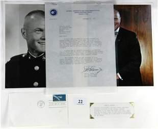 John GLENN - Astronaut. Hand typed letter on NASA