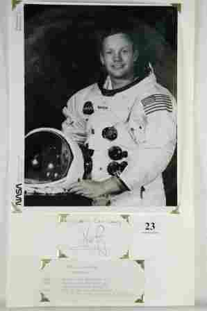 Neil ARMSTRONG - Astronaut. Black ink on card. Han