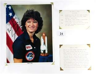Sally RIDE - Astronaut. Hand inscribed colour phot