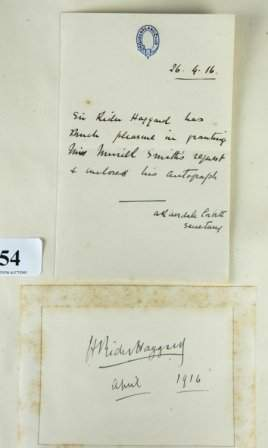Autograph - Sir H Rider HAGGARD - English Adventure