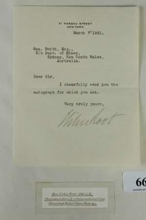 Elihu ROOT - Nobel Peace Prize 1912. Signed black