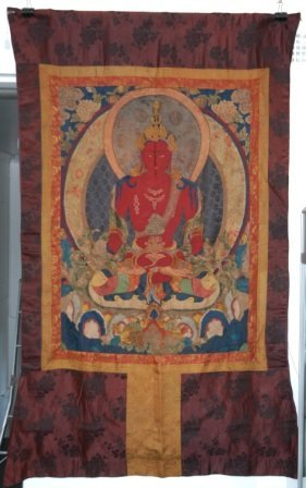 1001: Large Applique Fabric Thangka of Amitayus. Thangk