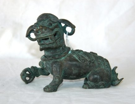 1010: Oriental Bronze Figure of a Dog of Fo.  H 11cm
