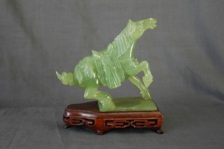1018:  Chinese Jade Carving of Tang Style Horse. 1 leg