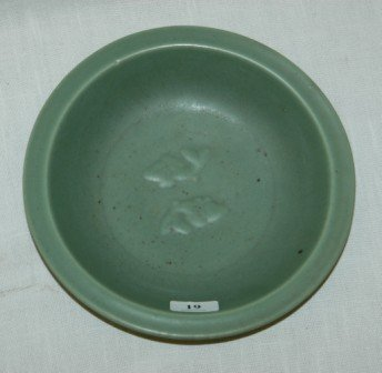 1019: Chinese Celadon Glazed Dish. Decorated with twin