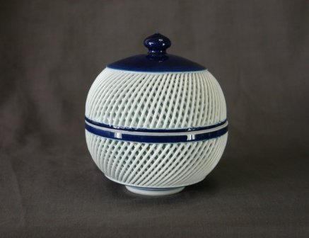 1021A: Early Japanese B/W Reticulated Porcelain Covered