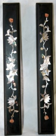1023: Pair Zitan Mother of Pearl Inlaid Dark Wood Paper