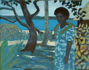 CROOKE, Ray (b.1922) 'Waiting for Arrivals' Oil on