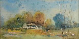 YOUNG, Blamire (1862-1935) Cottages Early Morning