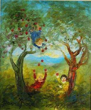 BOYD, David (b.1924) 'Catching Apples' Oil on Boa
