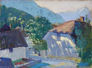 CARRICK FOX, Ethel (1872-1952) Alpine Village Oil