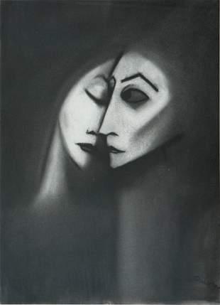 DICKERSON, Robert (b.1924) Loving Couple Charcoal