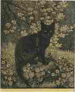 55: LINDSAY, Lionel (1874-1961)  The Black Cat  Woodcut
