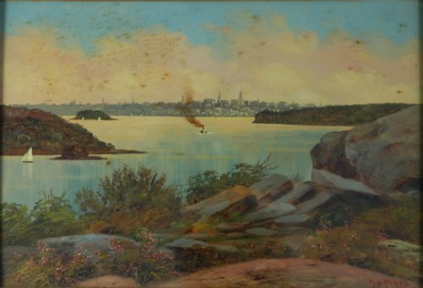 265: HOWES, W H c.1900's view of Sydney Harbour. Oil on