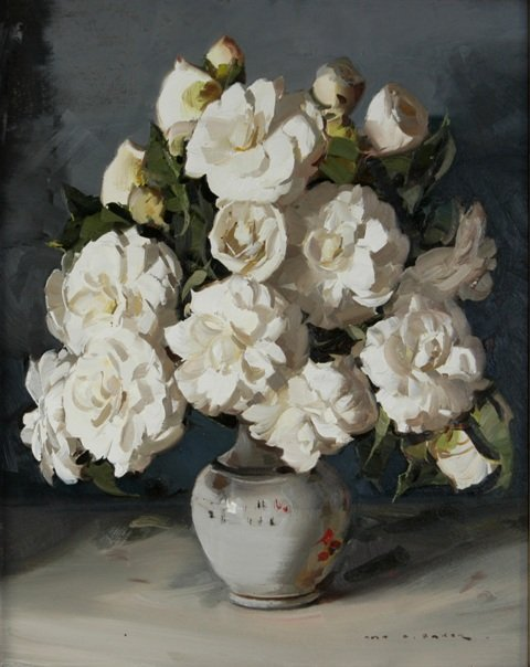 1004: BAKER, Alan Douglas (1914-1987) Camellias Oil on