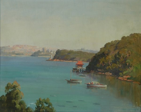 1010: LANGKER, Erik (1898-1982) 'Mosman Bay' Oil on Boa