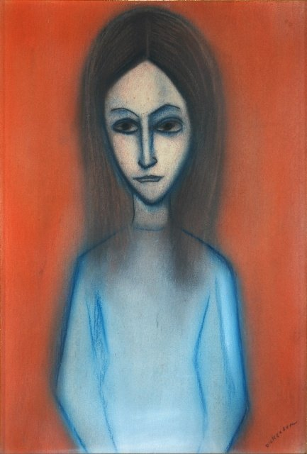 1012: DICKERSON, Robert (b.1924) Young Woman in Blue Dr