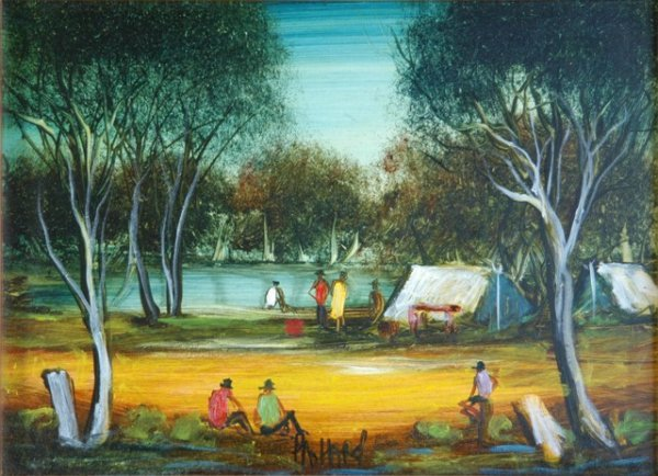 1013: HART, Pro (1928-2006) 'Yabby Camp' Oil on Board 2