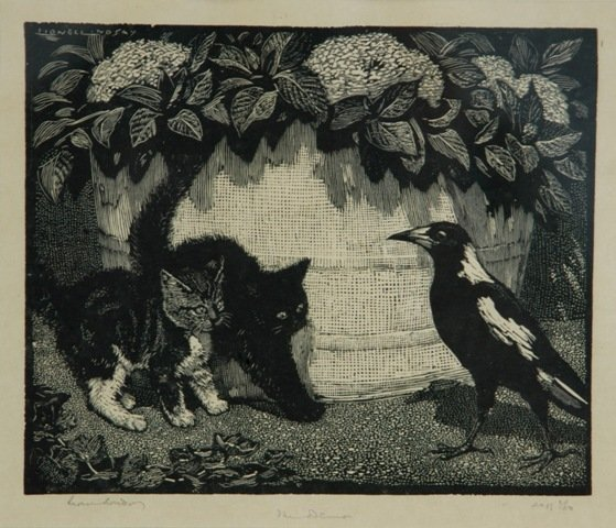 1020: LINDSAY, Lionel (1874-1961) 'The Demon' Woodcut 1