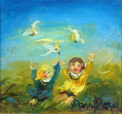 1021: BOYD, David (b.1924) Children & Cockatoos Oil on