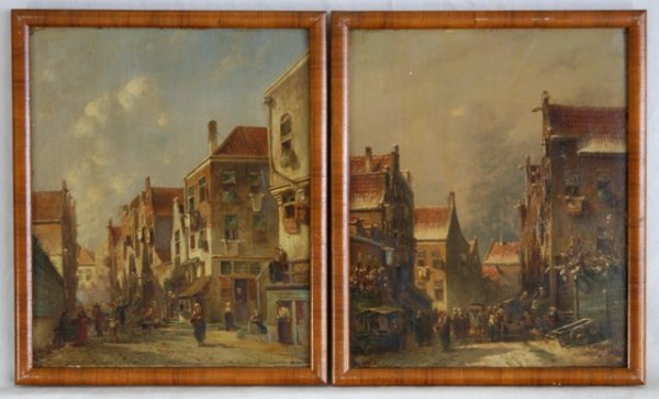 1240: Dutch School (Pair) 19th C Town Views. Both signe