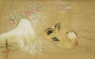 Chinese School Duck, Drake & Prunis Flowers. W/Clr 1