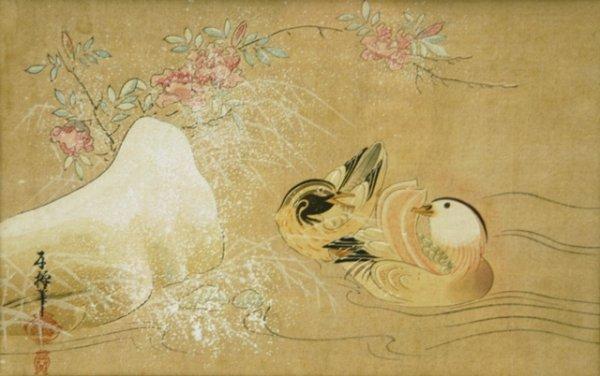 1: Chinese School Duck, Drake & Prunis Flowers. W/Clr 1