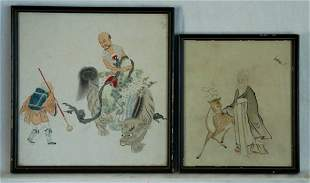Chinese School (2) Rider on Mythical Beast; & Old Ma