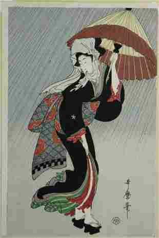 UTAMARO Woman with Umbrella in the Rain Woodblock 38