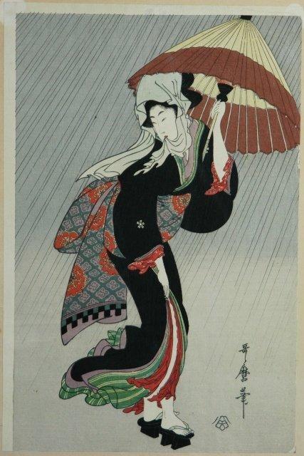 4: UTAMARO Woman with Umbrella in the Rain Woodblock 38