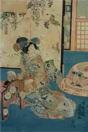 KUNISADA (1786-1865) Interior Scene with Geisha Wood