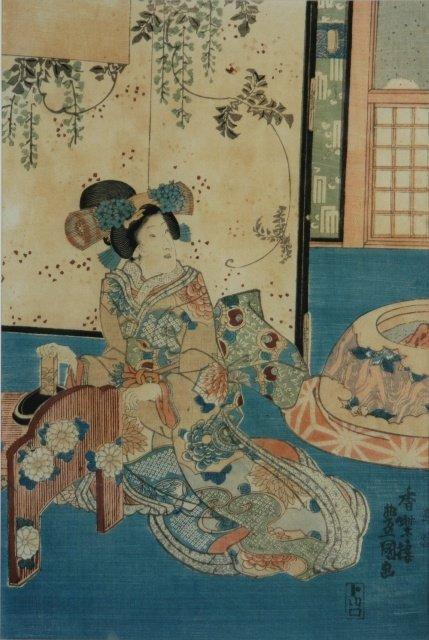 5: KUNISADA (1786-1865) Interior Scene with Geisha Wood