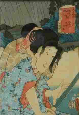 KUNISADA (1786-1865) Figure with Samurai Sword. c.18