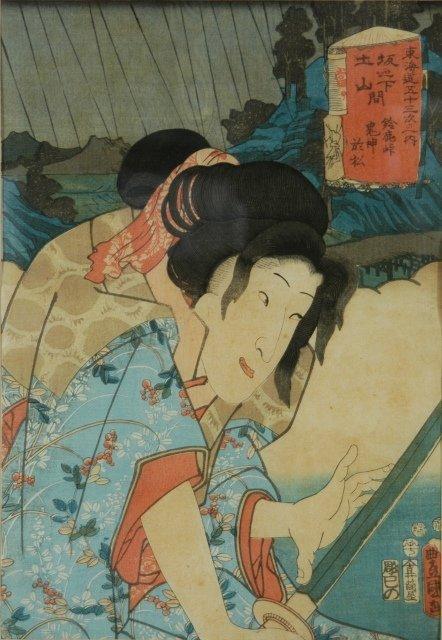 8: KUNISADA (1786-1865) Figure with Samurai Sword. c.18