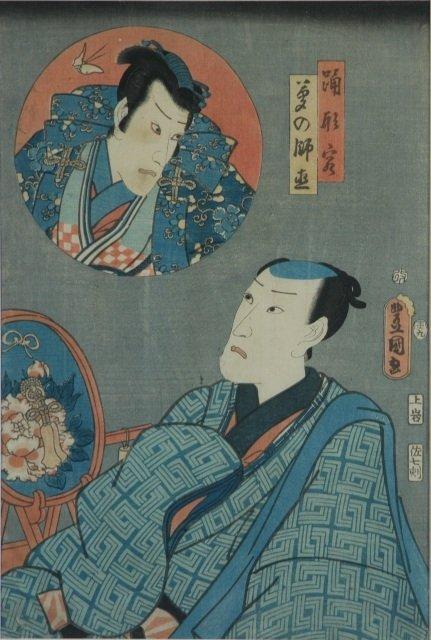 12: KUNISADA (1786-1865) Kabuki Scene. 2 figures, 1 in