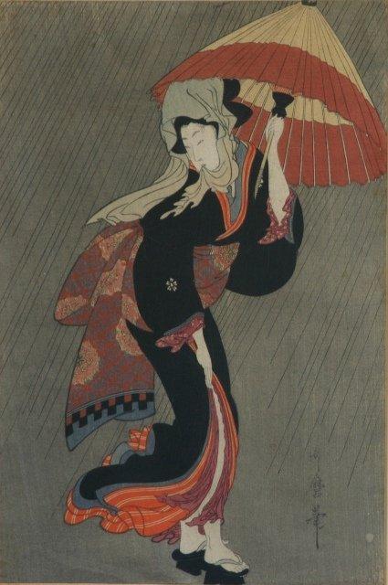 13: UTAMARO Geisha in the Rain with Umbrella. Woodblock
