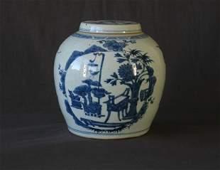 Chinese Blue & White Porcelain Ginger Jar & Cover.