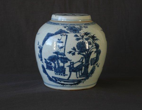 14: Chinese Blue & White Porcelain Ginger Jar & Cover.