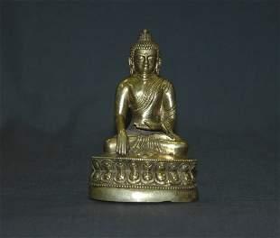 19th C Tibetan Gilt Bronze Figure of Shakyamuni. D