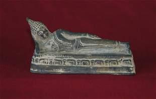 Eastern Bronze Recumbent Buddha H 7.5cm L 16cm