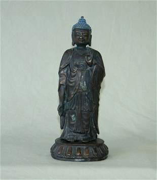 Eastern Bronze Standing Buddha on Lotus Base H 23.