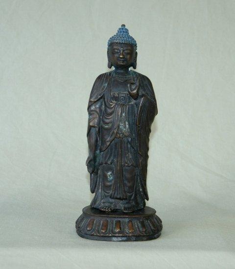 19: Eastern Bronze Standing Buddha on Lotus Base  H 23.
