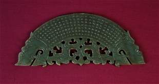 Waring States Style Carved Jade Bi-Dragon Pendant.