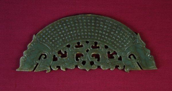 23: Waring States Style Carved Jade Bi-Dragon Pendant.