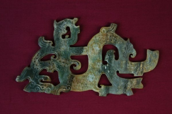 24: Waring States Style Carved Jade Dragon Pendant.  L