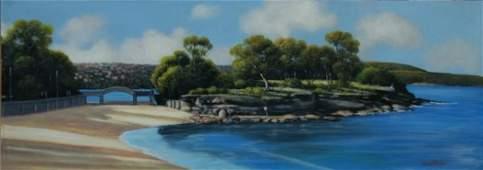 127: TAYLOR, Michael (b.1950) 'Balmoral Beach' Oil on B