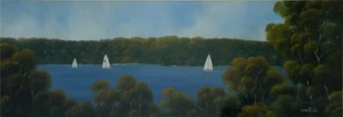 162: TAYLOR, Michael (b.1950) 'Sailing Sydney' Oil on B