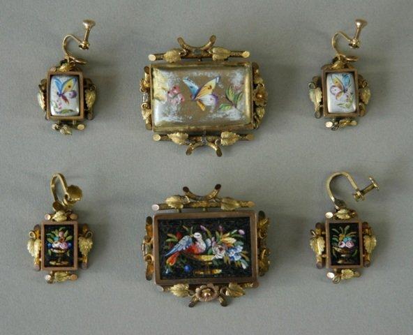 331: 2 Early Italianate Brooch & Earrings Sets. Matchin
