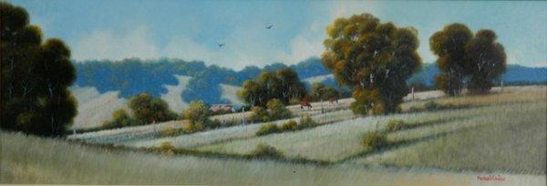1002: TAYLOR, Michael (b.1950) 'Quiet Valley' Oil on Bo