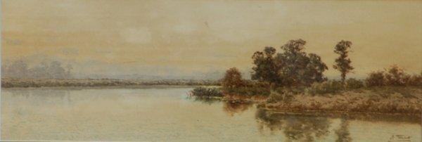 1006: TEBBITT, Henri (1852-1926) River Landscape W/Clr